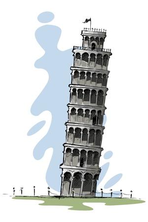 pisa: Scheve toren van Pisa Stock Illustratie