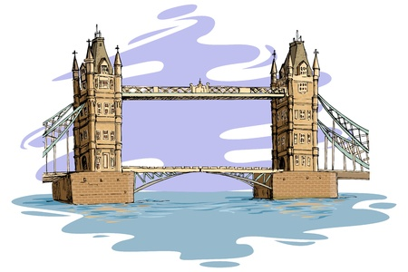 suspension bridge: London Bridge Illustration