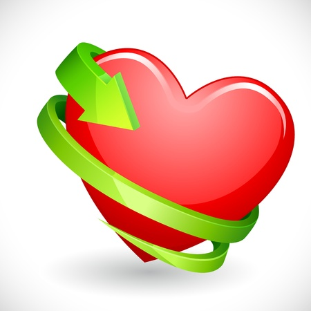Heart wrapped with Arrow Stock Vector - 12997477