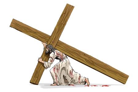 Gesù Cristo portacroce Croce Vettoriali