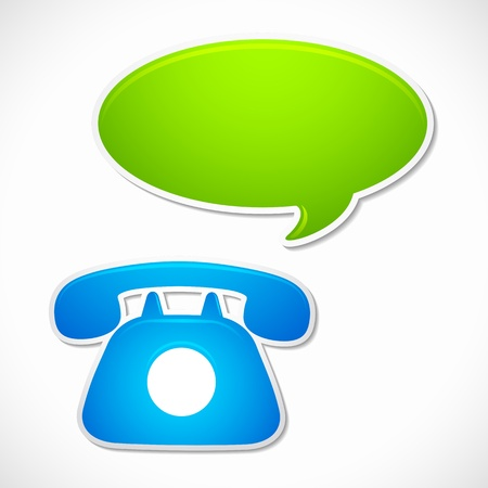 Old Rotary Phone with Chat Bubble Vector