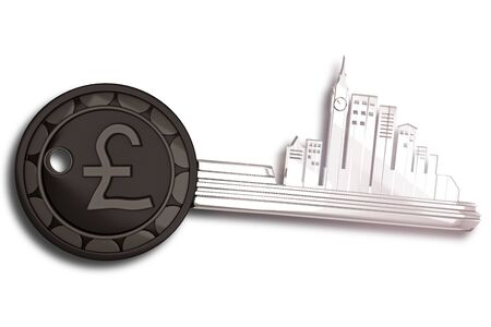 british pound: Key Ring with London cityscape