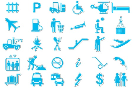 Transport Symbol Icon Set Illustration