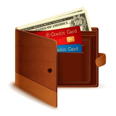 electronic transaction: Credit Card and Dollar Note in Wallet Stock Photo