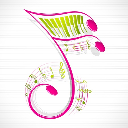 clef de fa: illustration de vecteur d'une note de musique color� floral Illustration