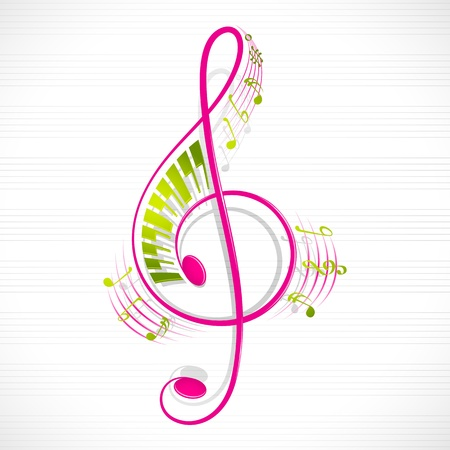 bass clef: vector illustration of colorful floral musical note