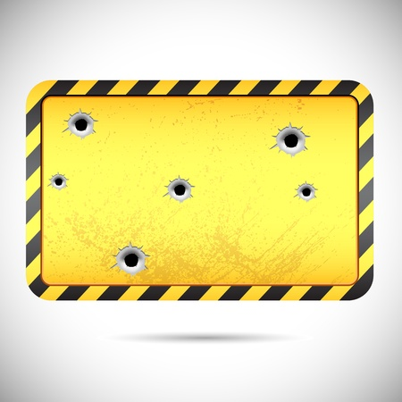 beware: vector illustration of bullet holes on hazard board Illustration