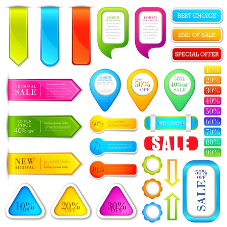 blank note tag: vector illustration of set of colorful label for tag