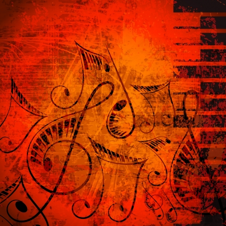 simbolos musicales: ilustraci�n vectorial de la nota musical con la tecla del piano en contra resumen de antecedentes grunge