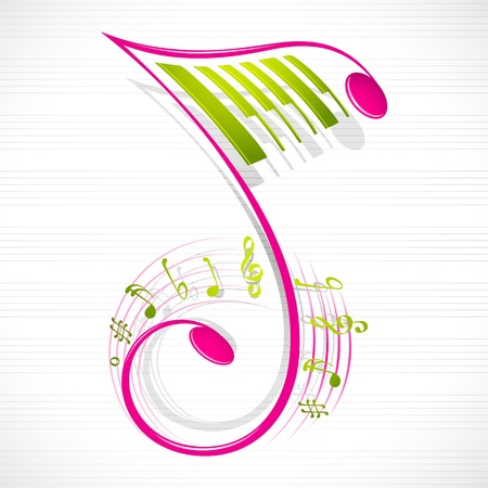 vector illustration of colorful floral musical note
