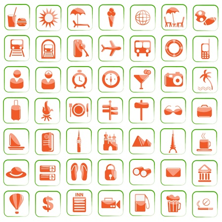 vector illustration of set of travel icon against white background Vector