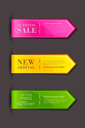 bookmark: vector illustration of set of colorful label for sell promotion Illustration