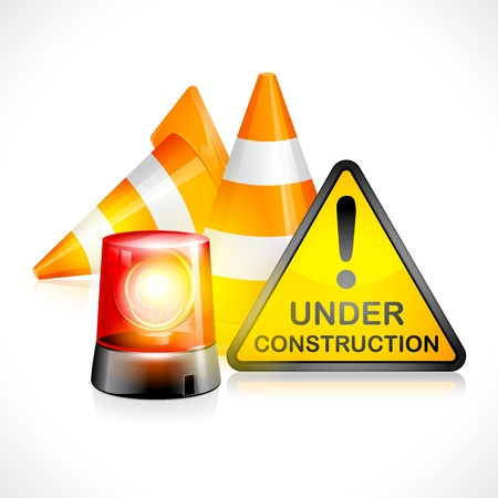 reconstrução: vector illustration of underconstruction cone with flashing light Ilustração