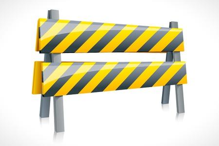 ilustración vectorial de la barrera de carreteras contra el fondo blanco