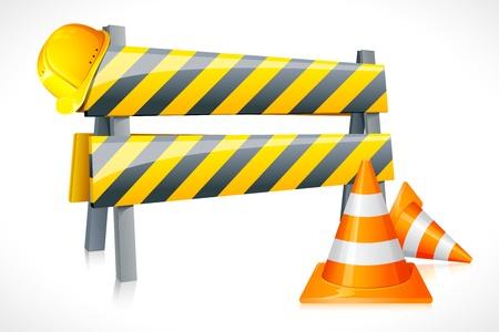 ilustración vectorial de la barrera de carretera con cono y el casco de seguridad
