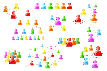 vector illustration of human network in different chain structure Stock Vector - 13405670