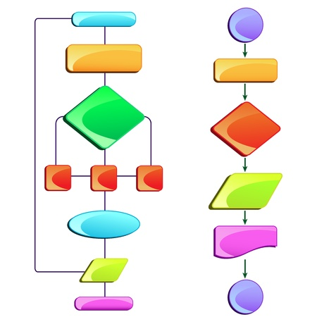 connection block: vector illustration of empty flow chart diagram with colorful block