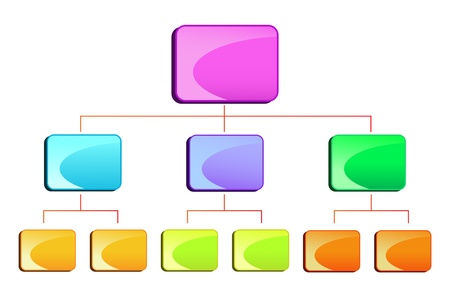 diagrama de flujo: ilustraci�n vectorial de diamgram jerarqu�a en blanco para los negocios