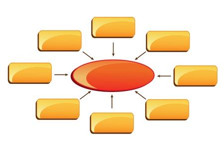 corporate hierarchy: illustrazione vettoriale di affari con diagramma a blocchi colorati in bianco