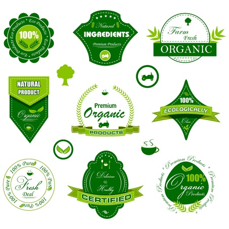 quality seal: vector illustration of set of badge for organic tag