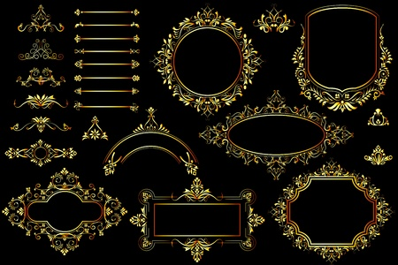 vector illustration of collection of golden vintage calligraphic design Stock Vector - 13405665