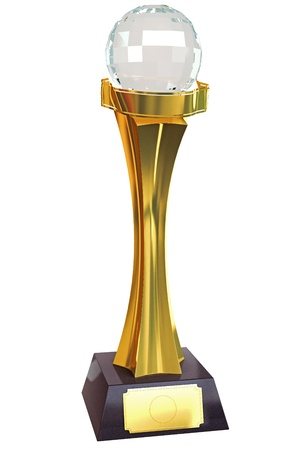 Gold Tropgy with Crystal Globe Stock Photo - 13405667
