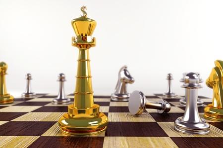 chess knight: Rey en tablero de ajedrez Foto de archivo