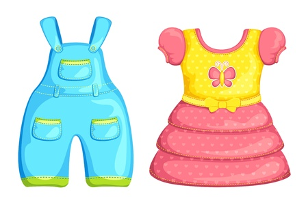 Vector Baby Boy and Girl dress Vector