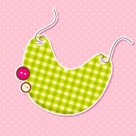 babero: Vector babero en la tarjeta de llegada del bebé