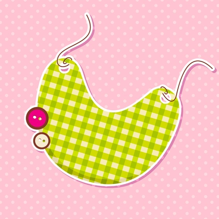 bib: Vector Bib on Baby Arrival Card Illustration