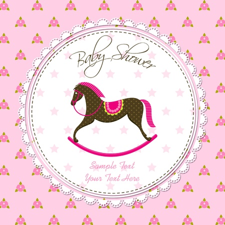 rocking: Vector Rocking Horse Baby Card Illustration