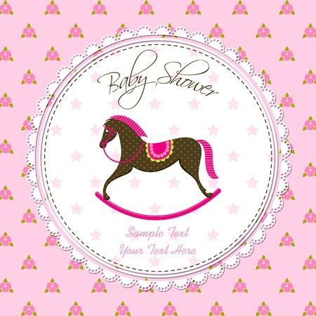 schommelpaard: Vector Rocking Horse baby-kaart