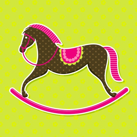 Vector Rocking Horse Baby Card Illustration