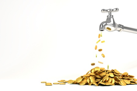 3d Golden Coin from Faucet Stock Photo