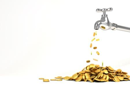 flujo de dinero: Moneda de oro de 3d grifo