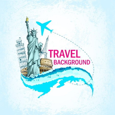 Vector Monuments in Travelling Background Vector