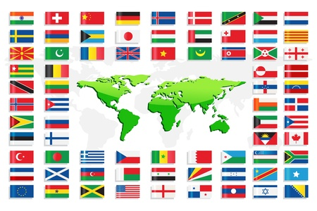 nations: Country Flags with World Map Illustration