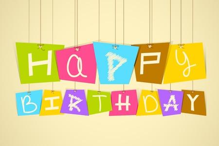 Hanging Happy Birthday Vector