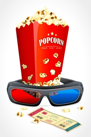 3d Glasses with Pop Corn Stock Vector - 13533434