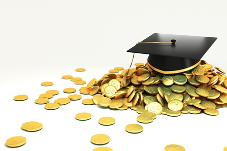 doctorate: Mortar Board on GOld Coin Stock Photo