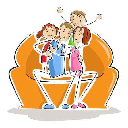 Happy Family Stock Vector - 13646380