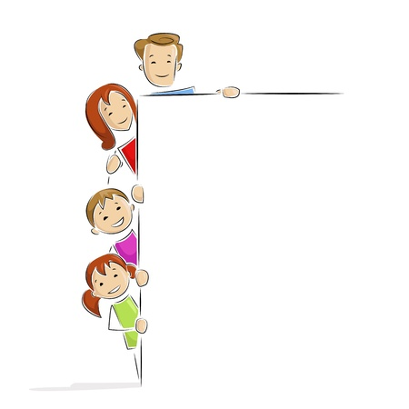 Family with Placard Vector