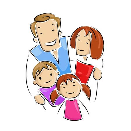 family looking up: Happy Family Illustration