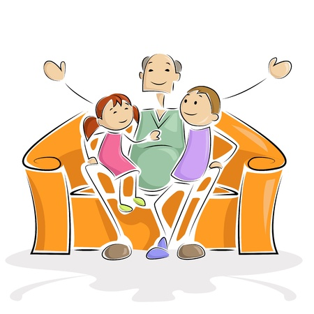 elder: Grandpa with Kids Illustration