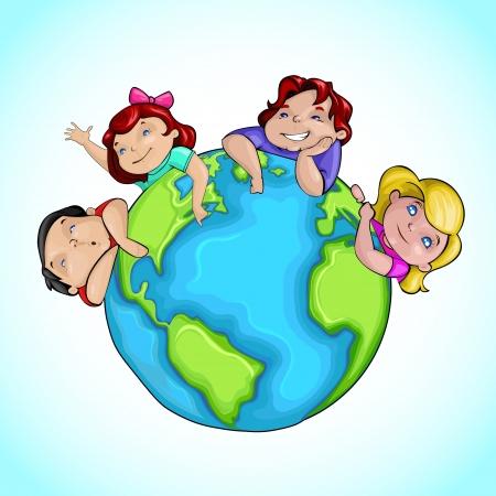 Kids around Earth Stock Vector - 13646383