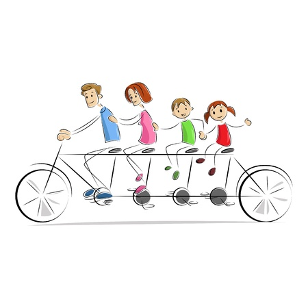 Fmaily enjoying Bicycle Ride Vector