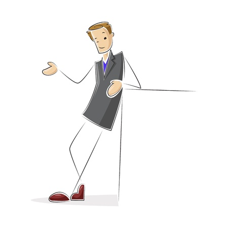 Man with Blank Board Vector