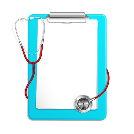 checkup: Clipboard with Stethoscope