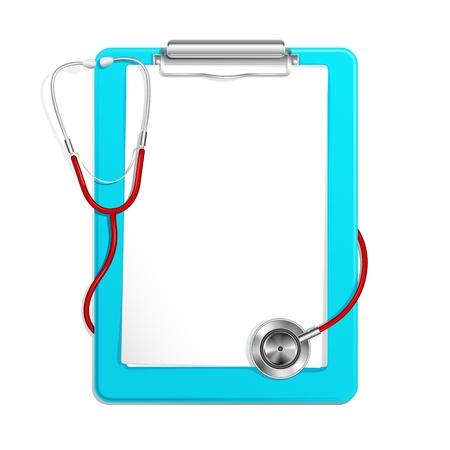 urgencias medicas: Portapapeles con estetoscopio Vectores