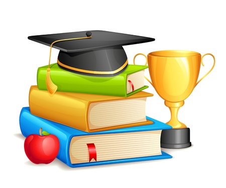 mortar board: Book with Mortar Board and Trophy
